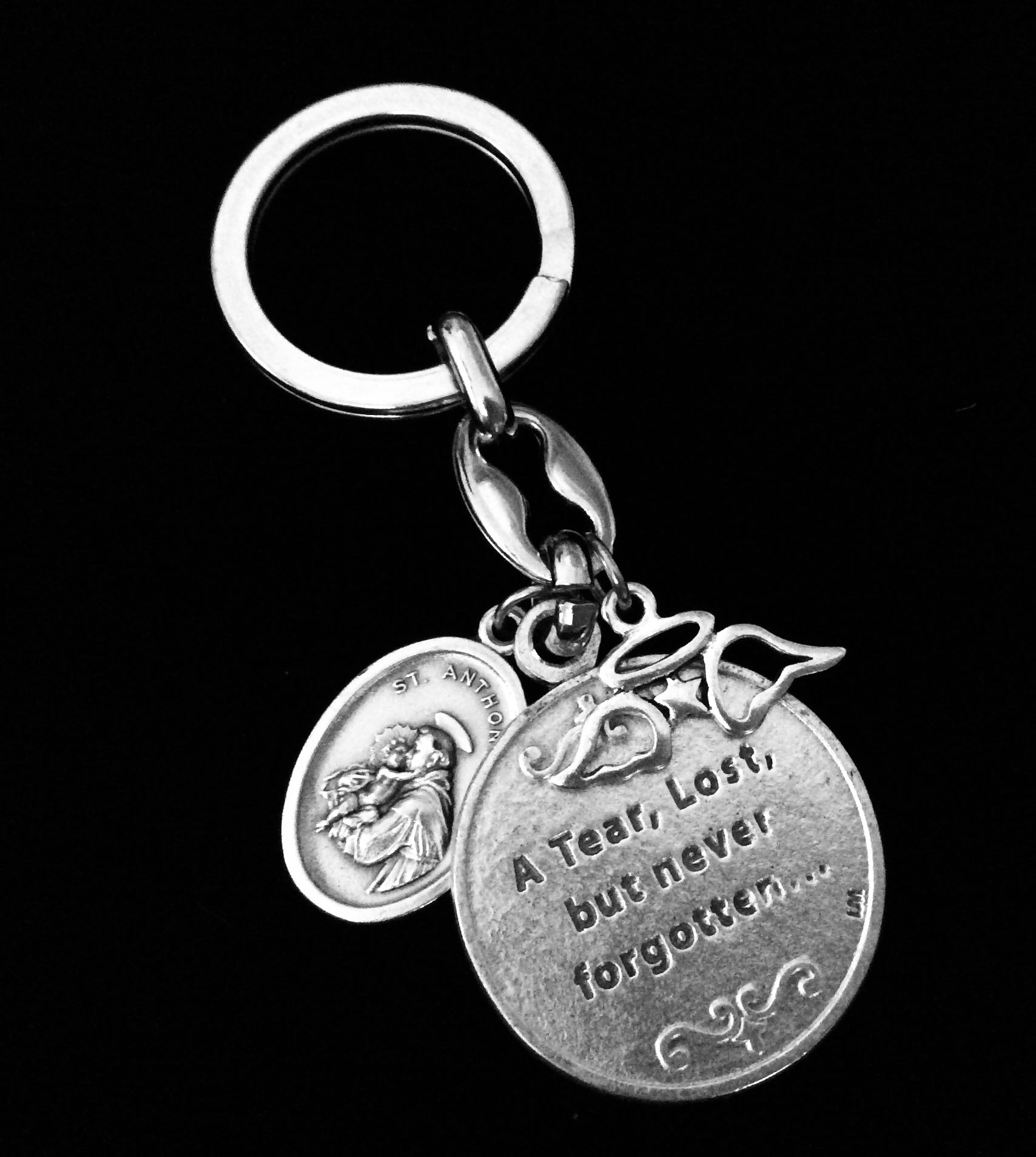 Key Fob Keychain >> Memorial Key Chain Saint Francis Saint Anthony Fob Keychain Medal Silver Key Ring Gift Inspirational Jewelry Angel Wings A Tear Lost But Never