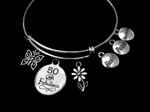50 and Fabulous Health Peace Happiness Happy Birthday 50th Expandable Silver Charm Bracelet