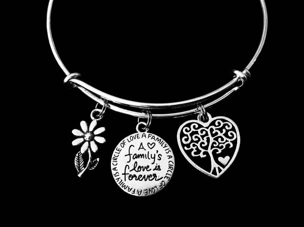 A Families Love is Forever Tree of Life Adjustable Bracelet Expandable Silver Charm Bangle Daisy Trendy Gift