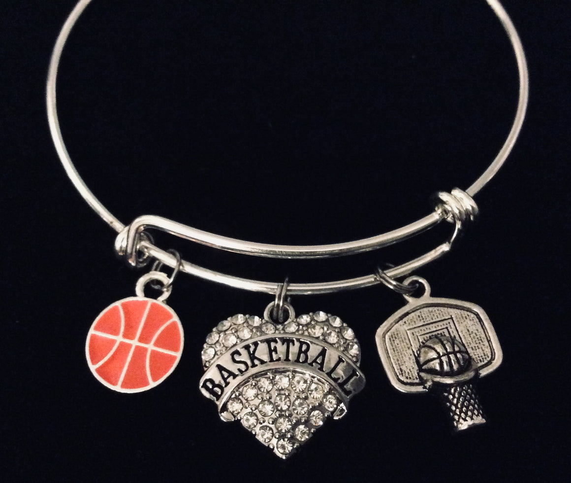 Basketball Jewelry Basketball Silver Expandable Charm Bracelet Sports Gift Adjustable Stackable Bangle
