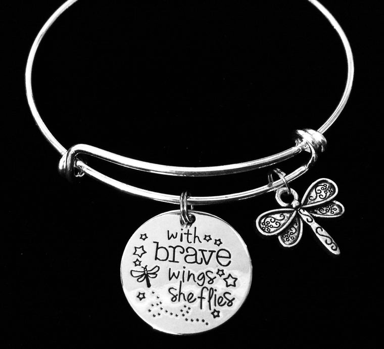 With Brave Wings She Flies Expandable Charm Bracelet Silver Adjustable Bangle One Size Fits All Gift
