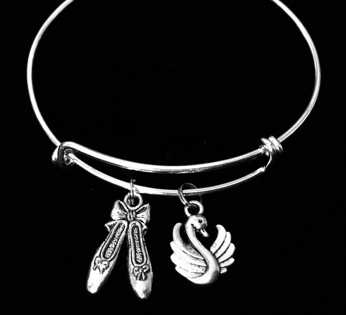 Ballerina Shoes and Swan Expandable Charm Bracelet Adjustable Bangle One Size Fits All Gift