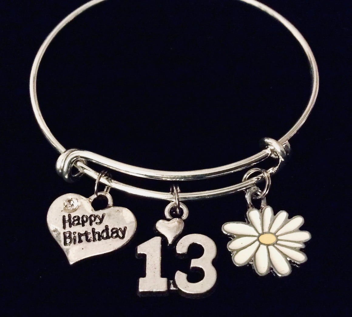 13th Birthday Happy Birthday 13 Expandable Charm Bracelet Adjustable Bangle Trendy Gift
