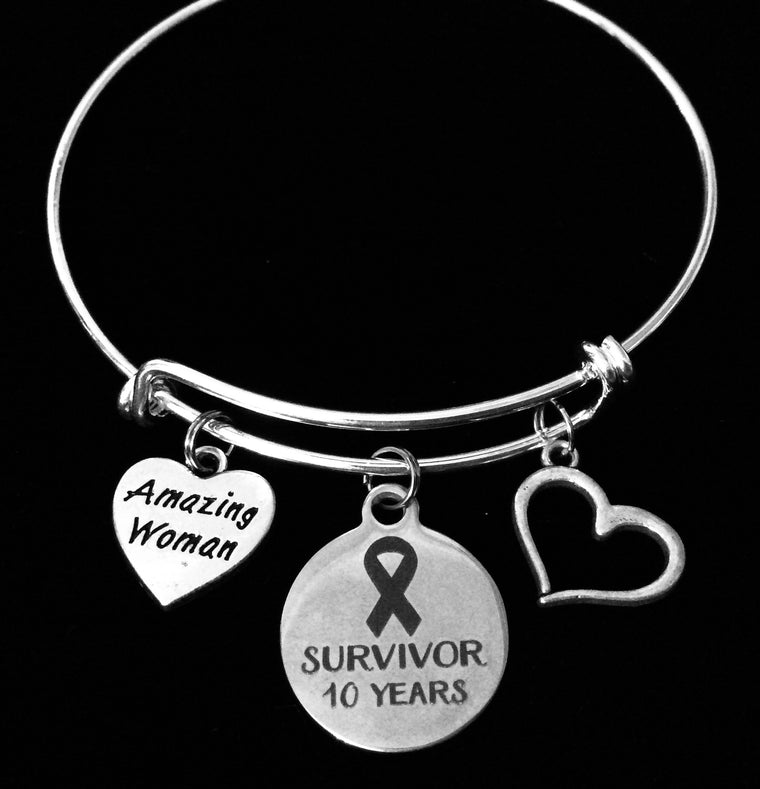 Amazing Woman Survivor 10 Year Jewelry Expandable Silver Charm Bracelet Adjustable Bangle One Size Fits All Gift