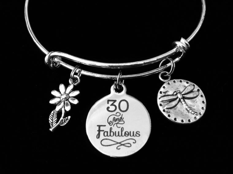 30 and Fabulous 30th Thirty Birthday Silver Expandable Charm Bracelet Adjustable Bangle Gift