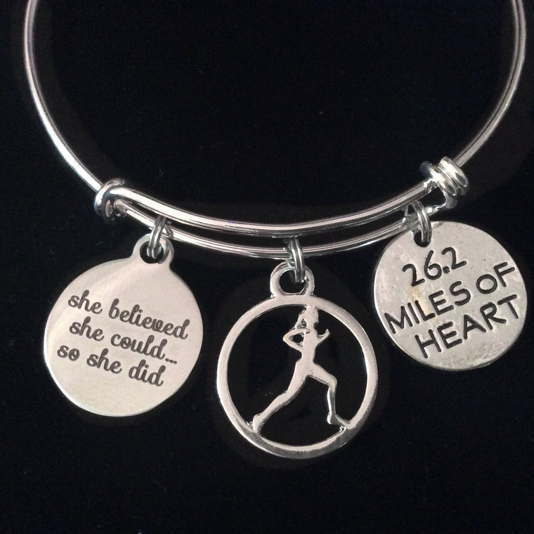 Runner 26.2 She Believed Silver Expandable Charm Bracelet Adjustable Wire Bangle Gift Trendy