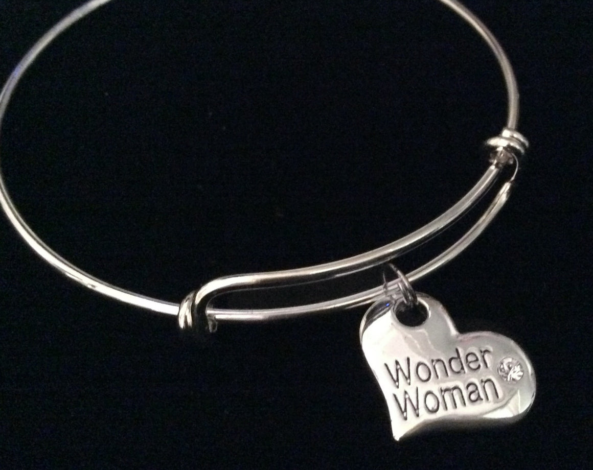 Wonder Woman Heart Silver Expandable Charm Bracelet Adjustable Wire Bangle Gift
