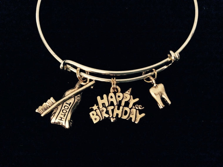 Happy Birthday Gold Tooth Expandable Charm Bracelet Toothbrush Toothpaste Dentist DH Dental Hygienist Gift
