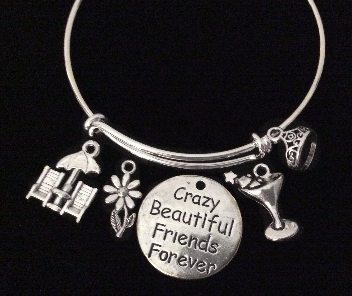Crazy Beautiful Friends Forever Adjustable Bracelet Silver Expandable Wire Bangle Trendy BFF Gift