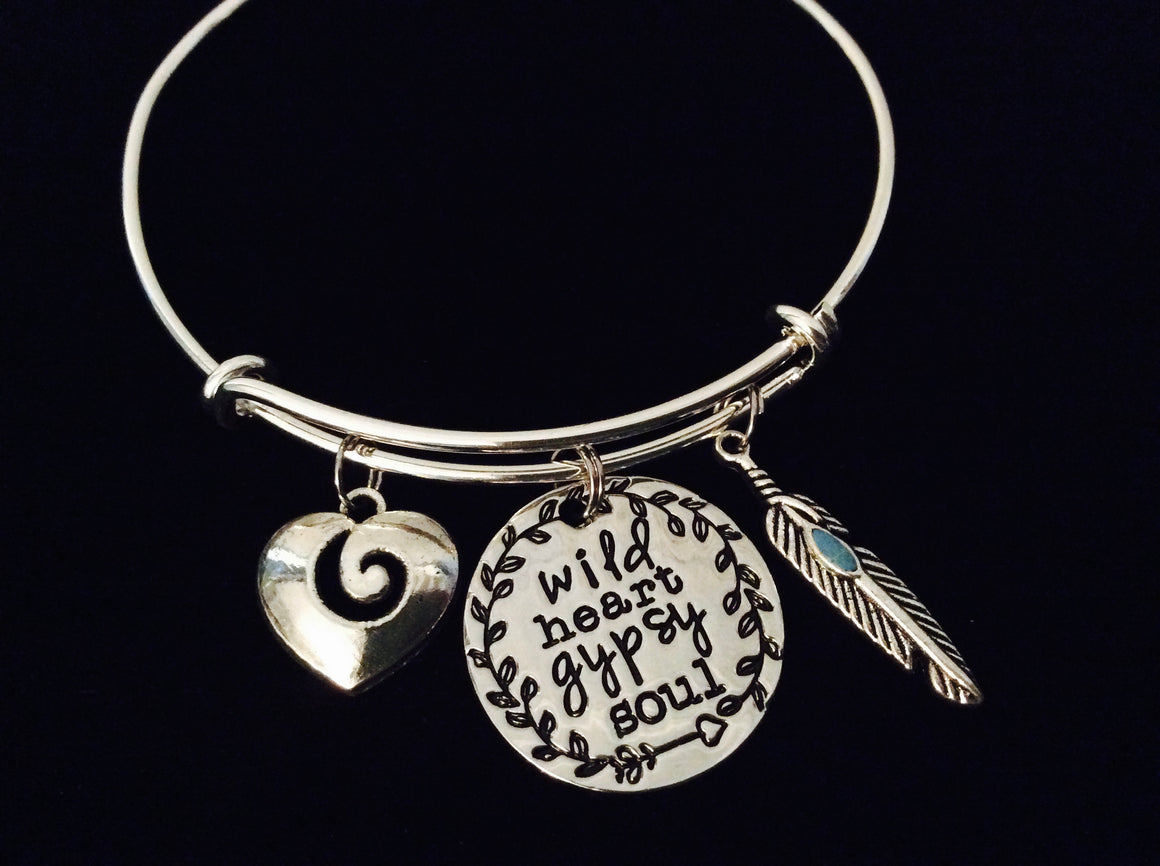 Wild Heart Gypsy Soul Adjustable Bracelet Expandable Silver Charm Bangle Gift Turquoise Feather Heart
