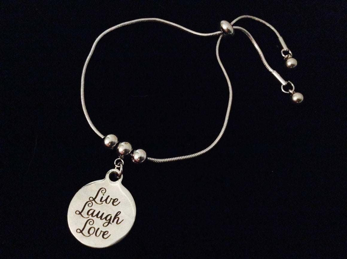 Live Laugh Love Adjustable Bolo Bracelet Stainless Steel Adjustable Bracelet Slider Charm Bracelet Gift One Size Fits All