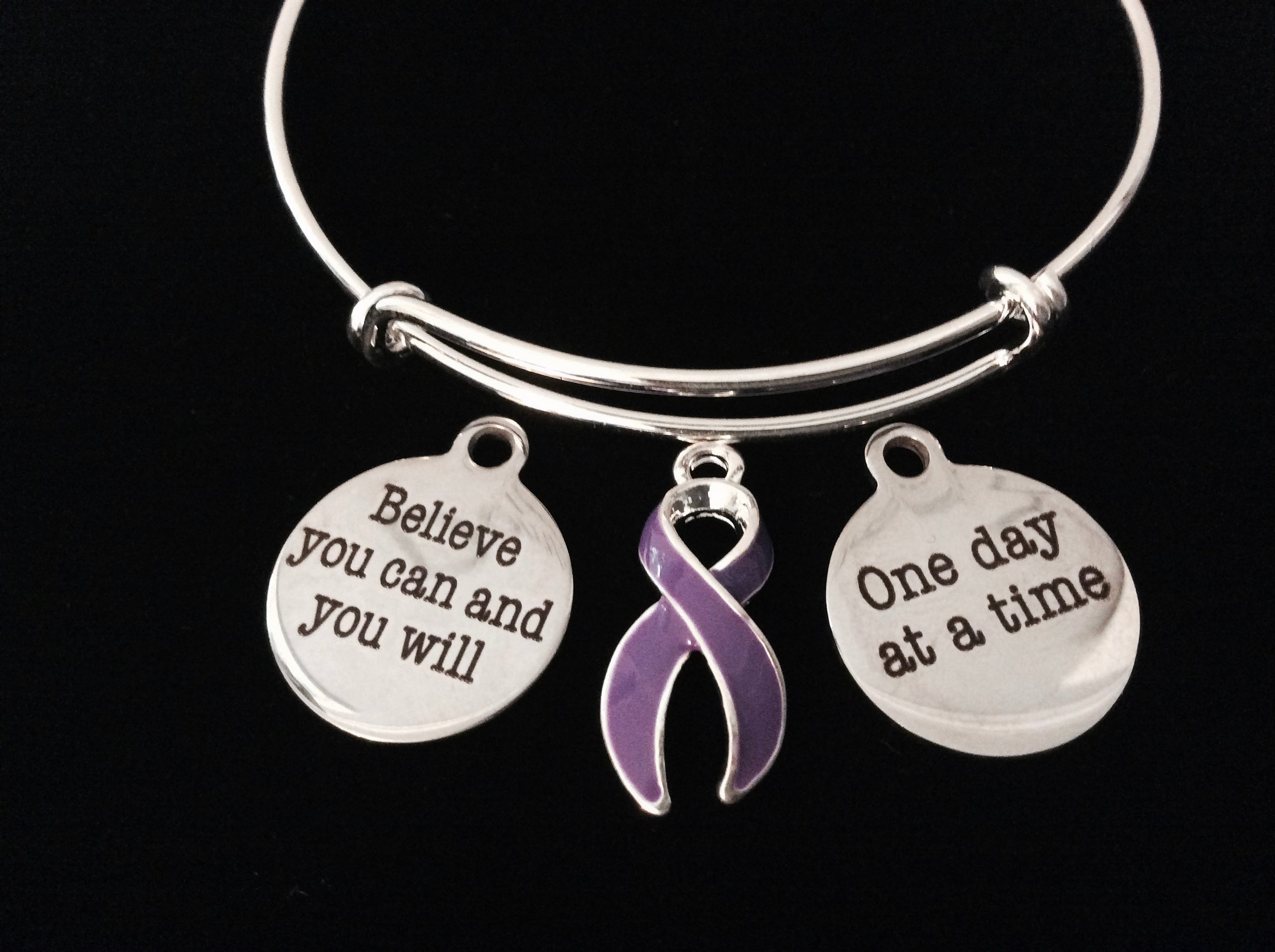 steel stainless ribbon diffuser awareness products bracelet cancer
