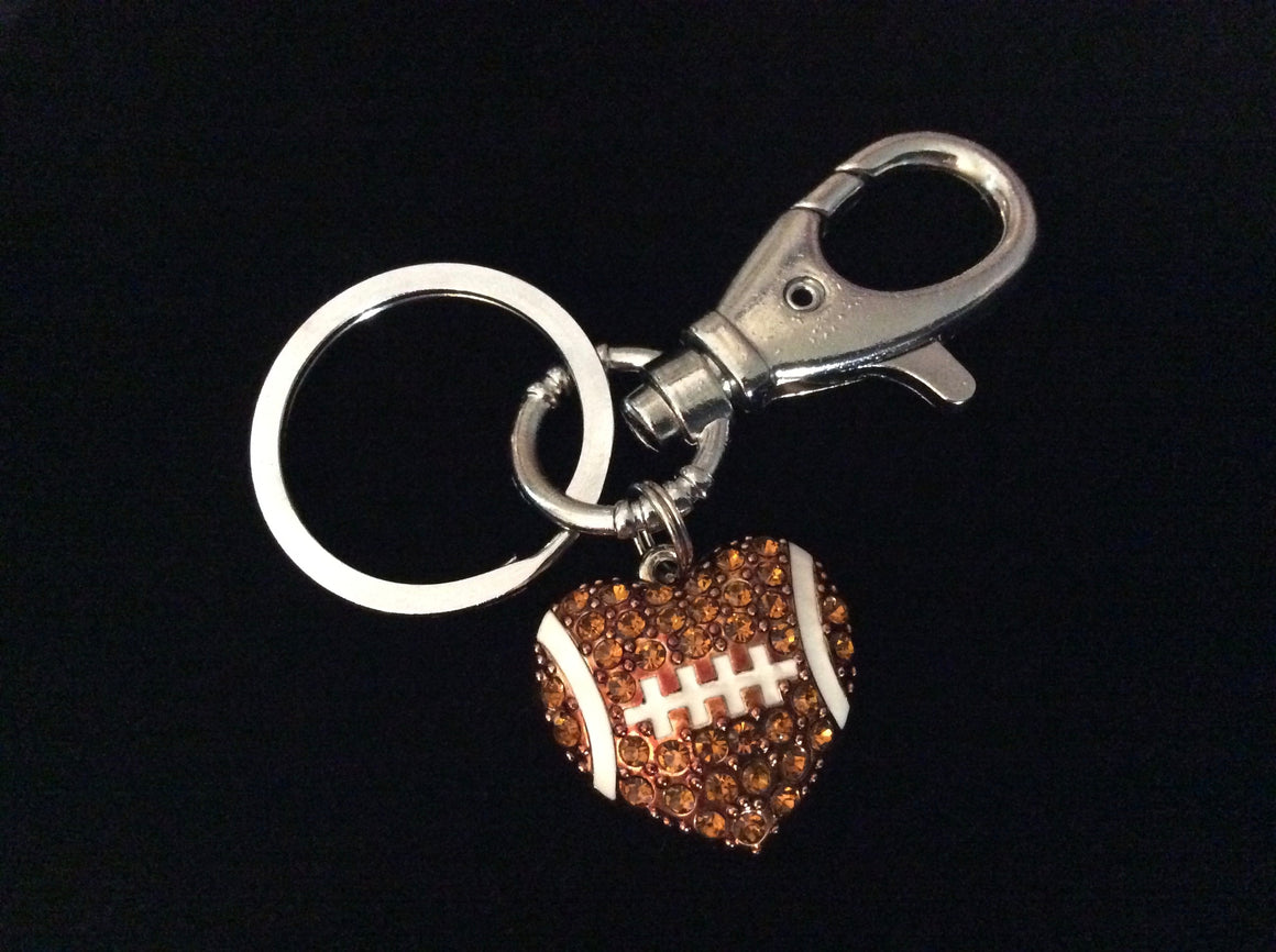 Football Coach Gift Crystal FootBall Mom Silver Key Ring Sports Team Gift