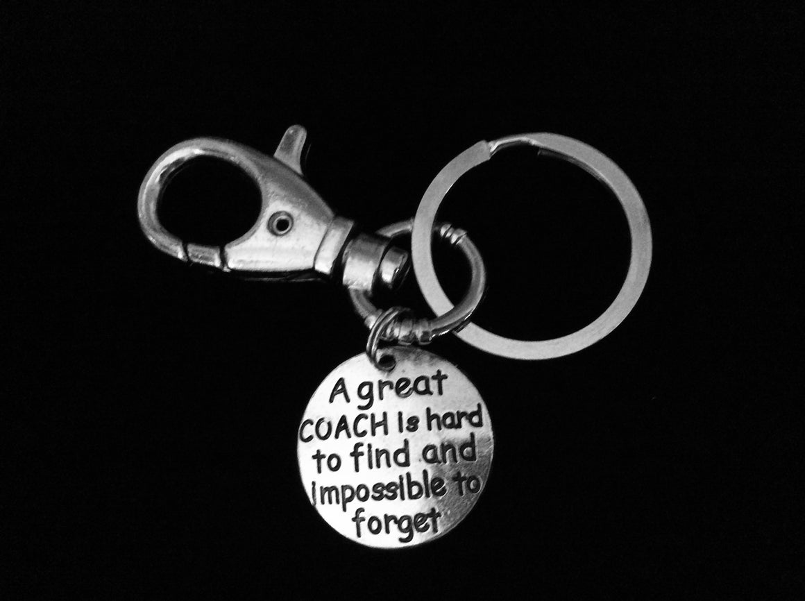 A Great Coach is Hard to Find and Impossible to Forget KeyChain Coach Gift Silver Key Ring Sports Team Gift