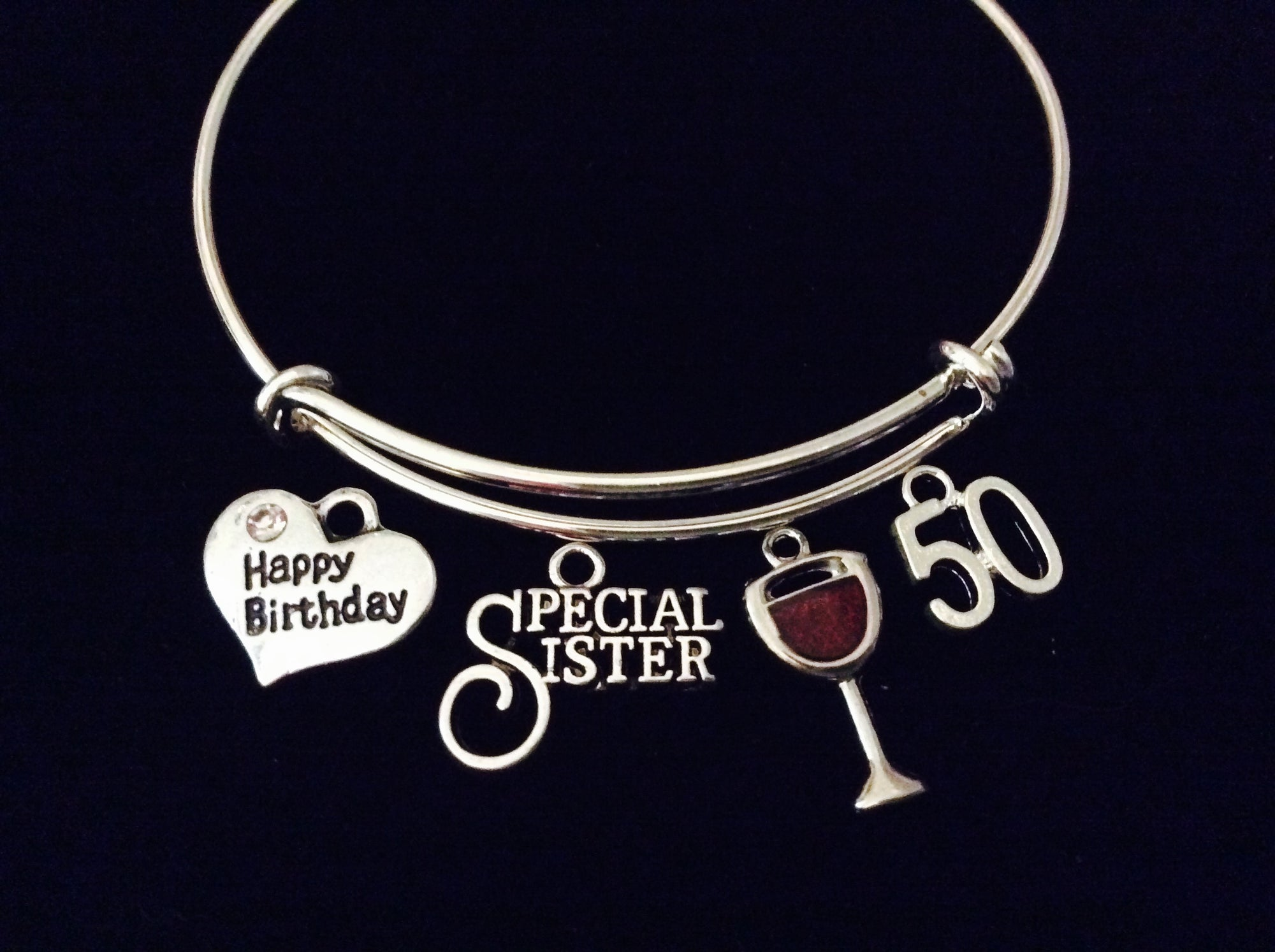 Happy 50th Birthday Special Sister Adjustable Bracelet Expandable Charm Bangle Gift