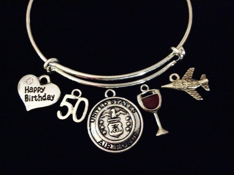 Air Force Plane Happy 50th Birthday Adjustable Bracelet Expandable Charm Bangle Gift Fighter Jet