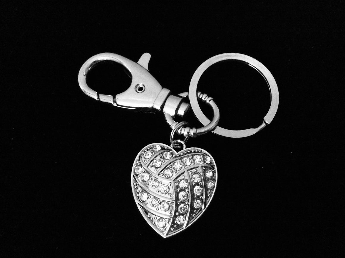 Volleyball KeyChain Coach Gift Silver Key Ring Sports Team Gift