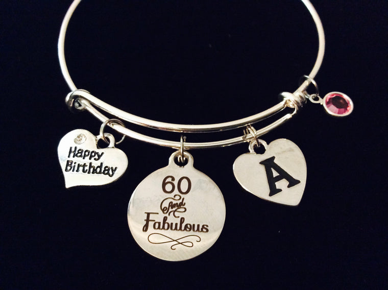 60 and Fabulous SIxty Happy Birthday Expandable Charm Bracelet Silver Adjustable Wire Bangle Gift 60th Birthday Gift