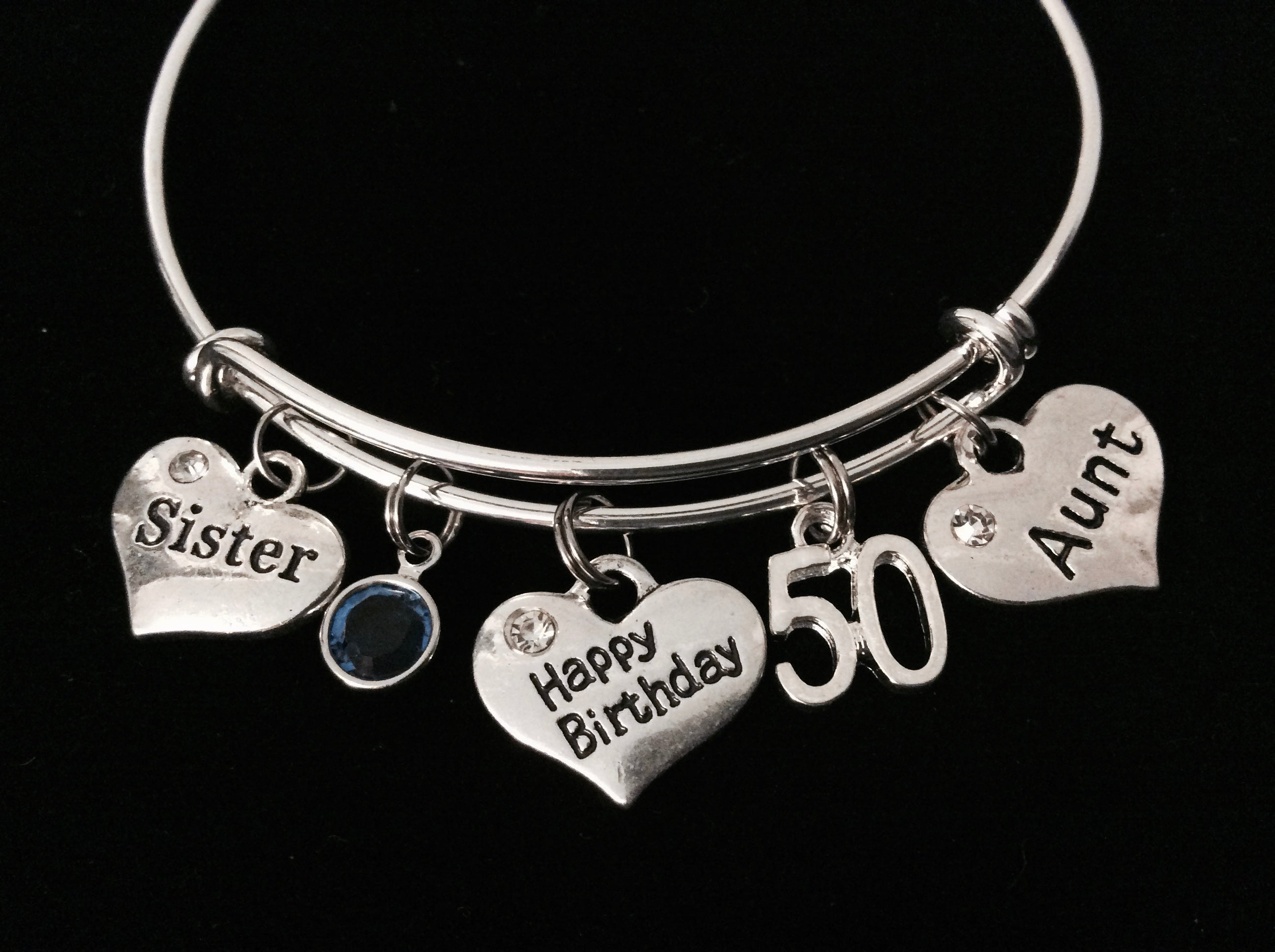 Happy 50th Birthday Sister Aunt Adjustable Bracelet Silver Expandable Bangle Trendy Gift Birthstone