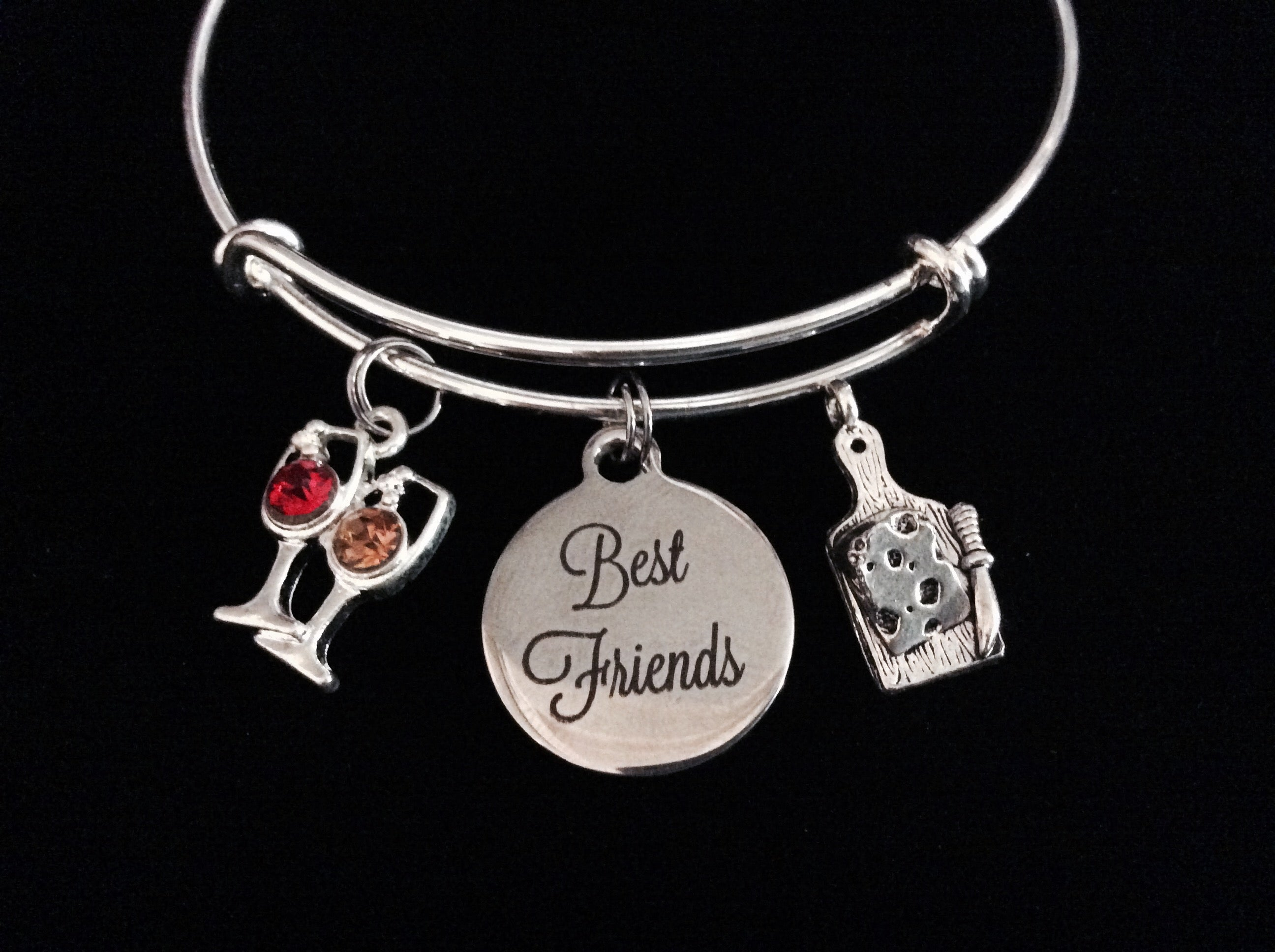 a49c7dc4bf3dd Best Friends Wine Glasses and Cheese Expandable Charm Bracelet Adjustable  Bracelet Gift