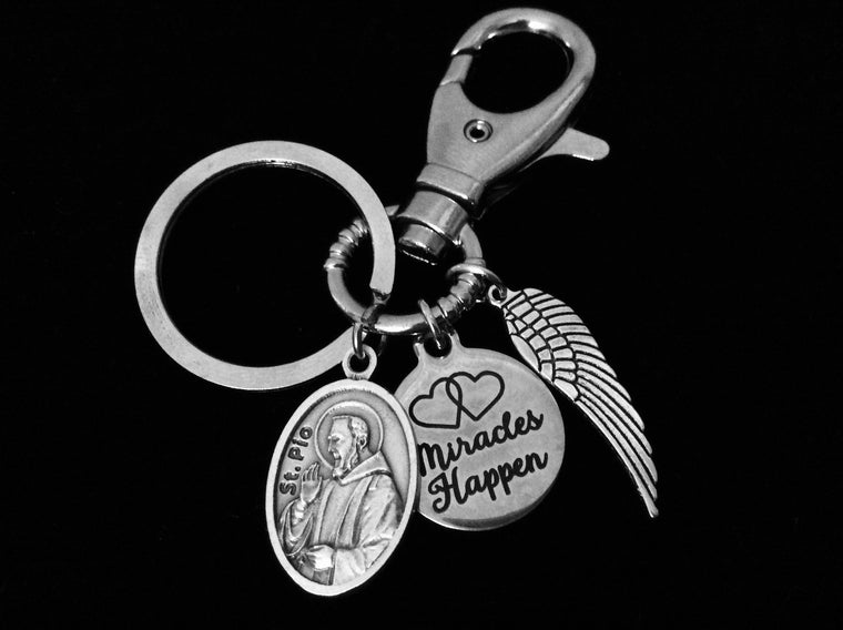 Miracles Happen Saint Pio Key Chain Angel Wing Silver Key Ring Gift Inspirational Jewelry Catholic Medal Patron Saint of Civil Defense Workers, Adolescents and Stress Relief
