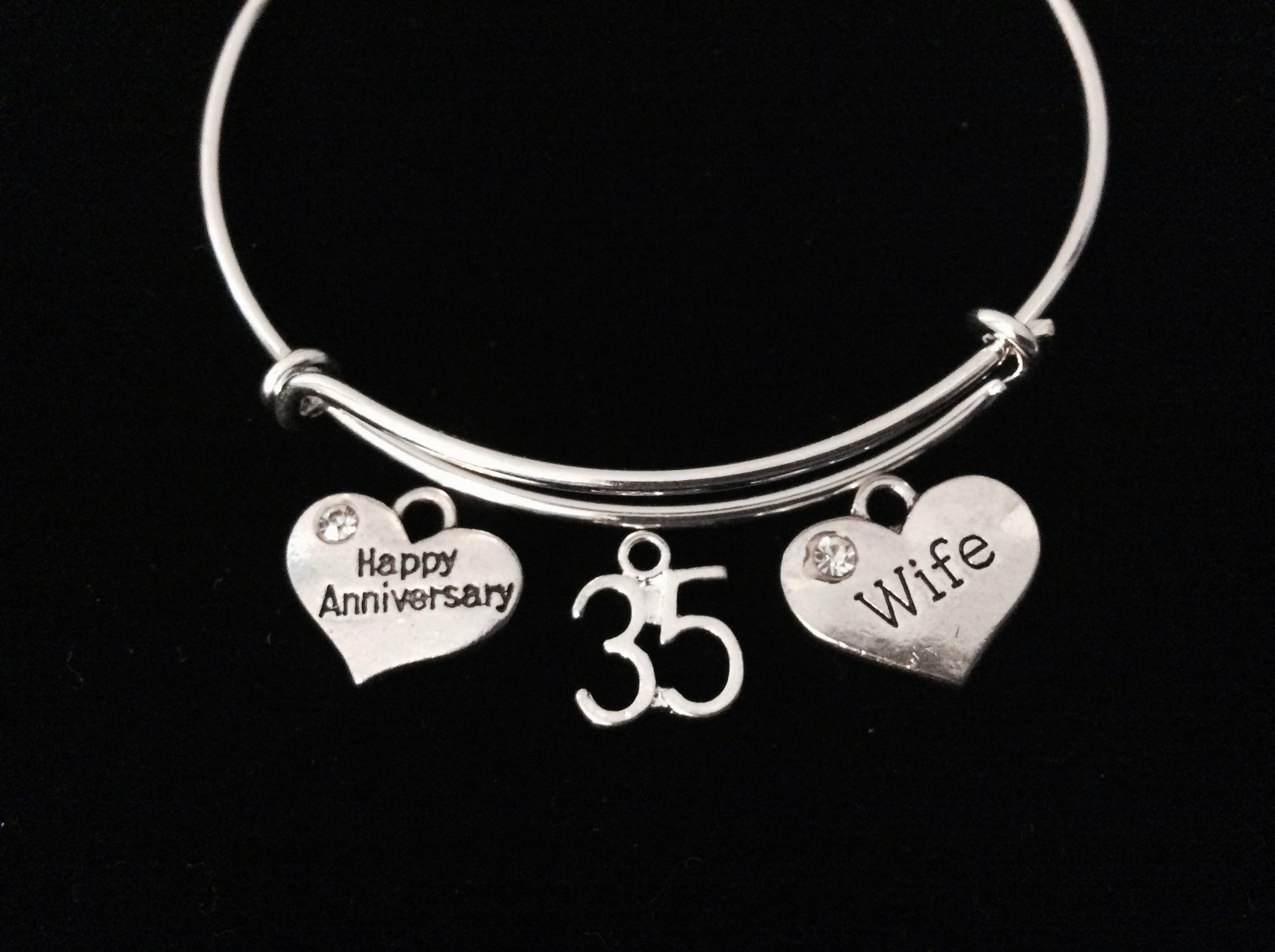 Happy 35th Anniversary Wife Jewelry Silver Expandable Charm Bracelet A - Jules Obsession