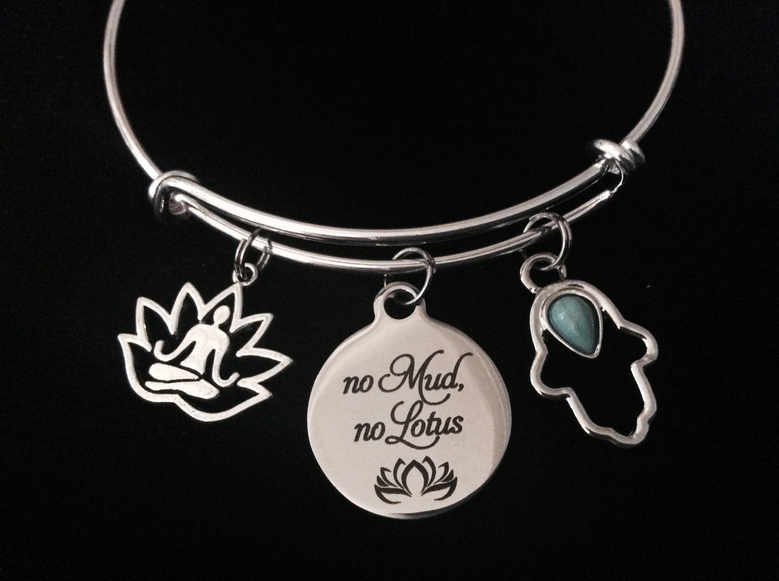 No Mud Lotus Hamsa Hand Buddha Adjustable Bracelet Expandable Charm Bangle Silver Yoga Gift New