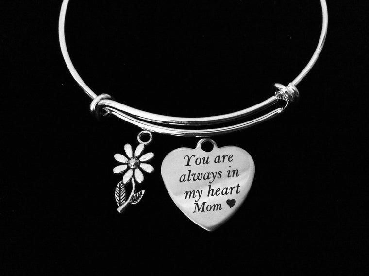 You are Always in My Heart Mom Adjustable Bracelet Silver Expandable Charm Bracelet Mother Gift