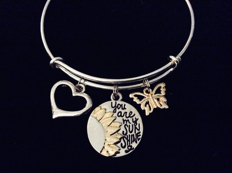 You are my Sunshine Adjustable Bracelet Expandable Silver Wire Bangle Butterfly Two Toned Silver and Gold