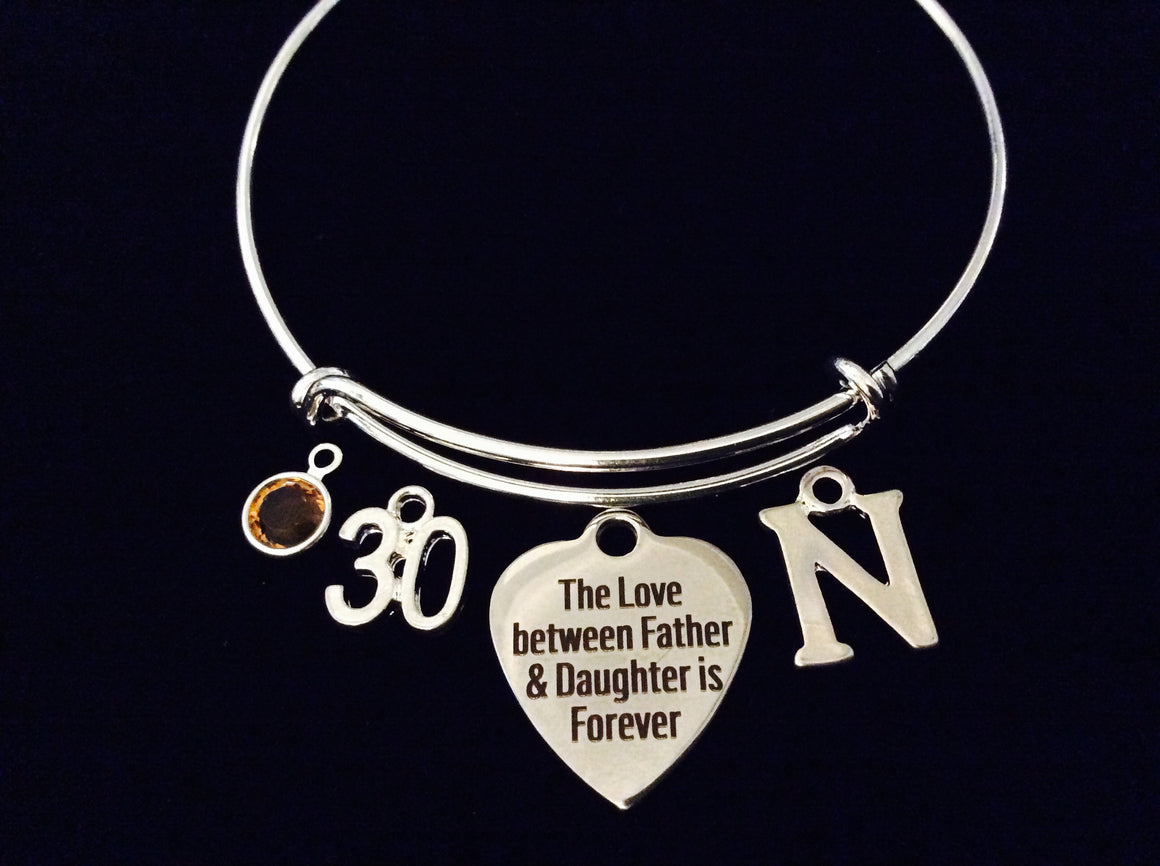 fc1e891a8970 Father Daughter Forever Birthstone 30 Expandable Charm Bracelet Silver  Adjustable Bangle Gift