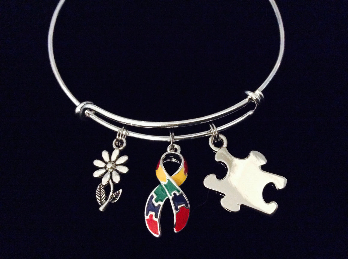 Autism Awareness Ribbon Expandable Charm Bracelet Adjustable Bracelet Multicolored Puzzle Piece Inspirational Gift