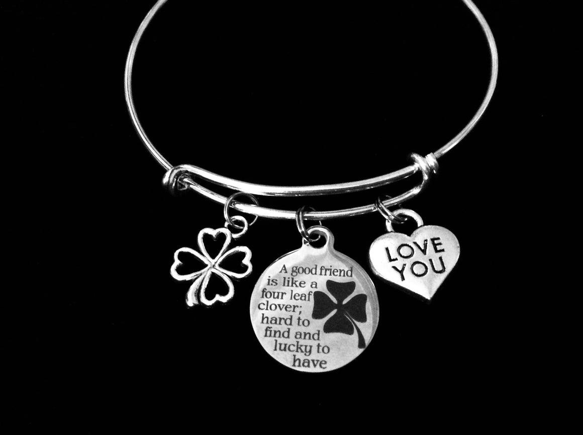A Good Friend is Like a Four Leaf Clover Lucky Adjustable Bracelet Expandable Silver Charm Bracelet Bangle Trendy Gift