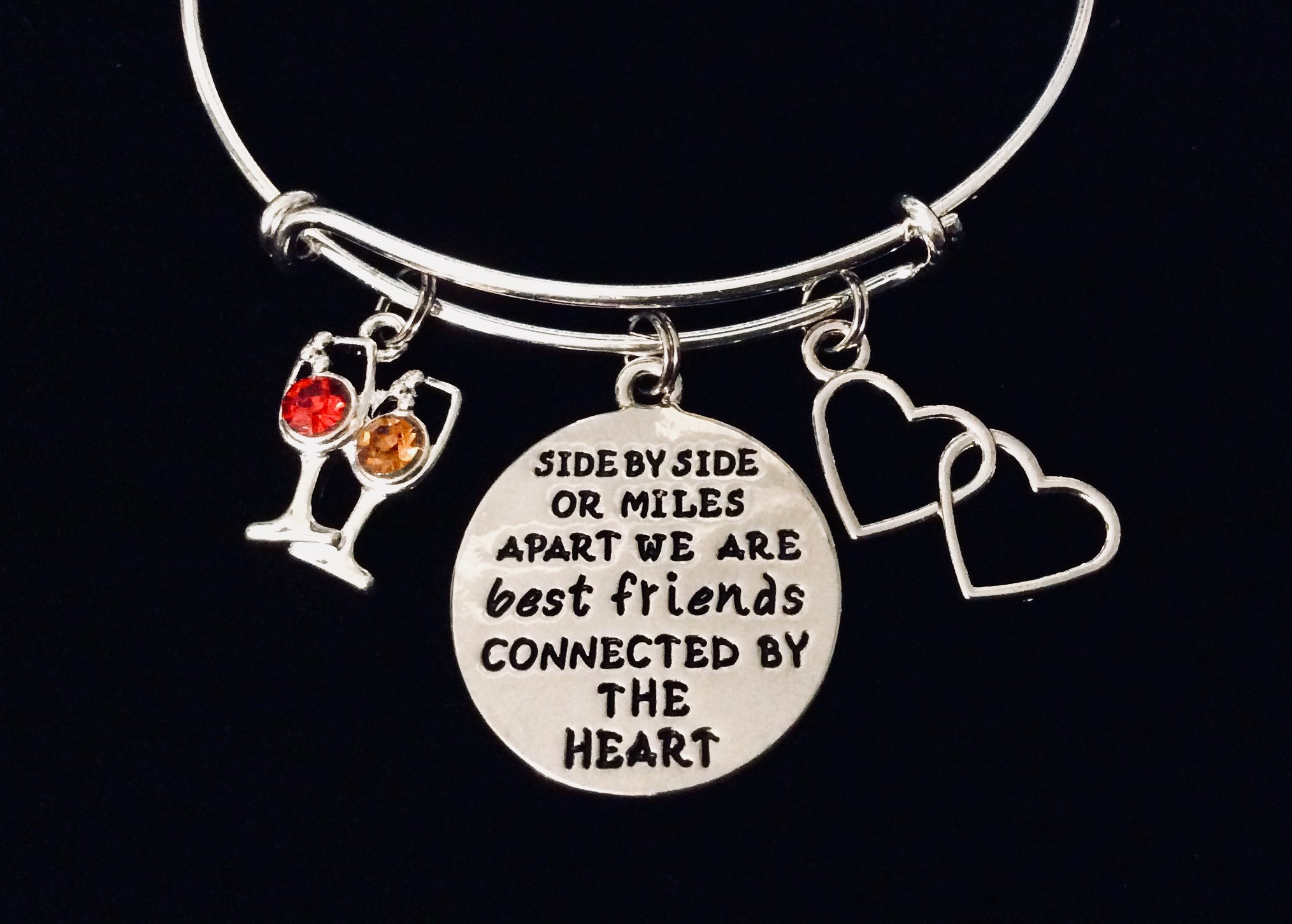 Best Friends Miles Apart Connected By The Heart Adjustable Bracelet