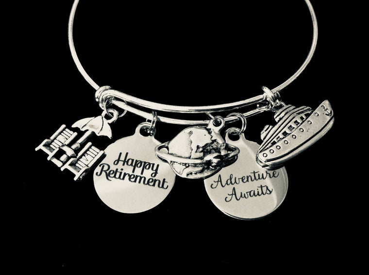 Adventure Awaits Happy Retirement Adjustable Bracelet Expandable Silver Charm Bracelet Adjustable Bangle Office Worker Gift Retire Travel Cruise Plane Beach Chairs