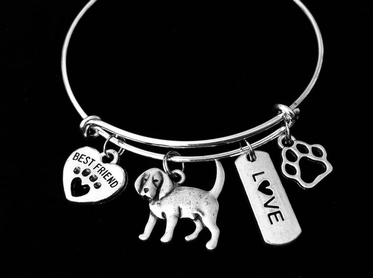 Beagle Dog Expandable Charm Bracelet Silver Adjustable Wire Bangle Gift Best Friend Paw Print Pet Animal Lover Jewelry Gift