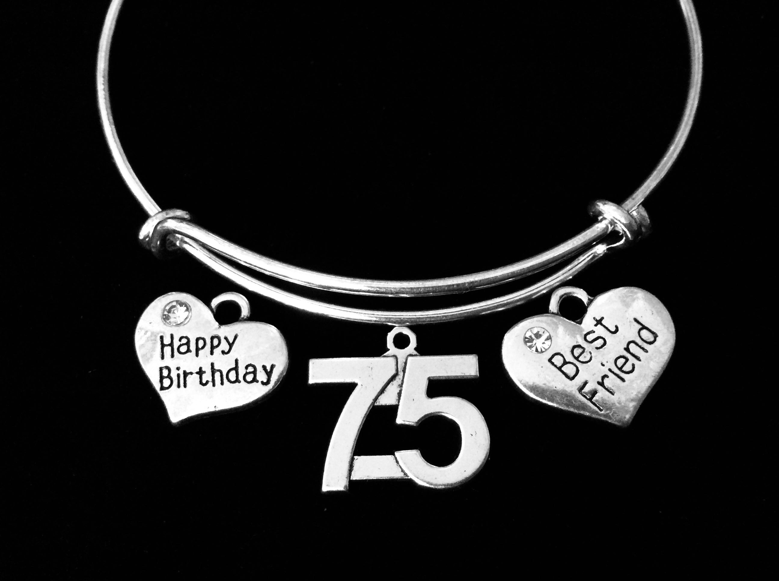 75 Happy Birthday 75th Birthday Best Friend Jewelry Adjustable Bracelet Silver Expandable Charm Bracelet Bangle Trendy Gift