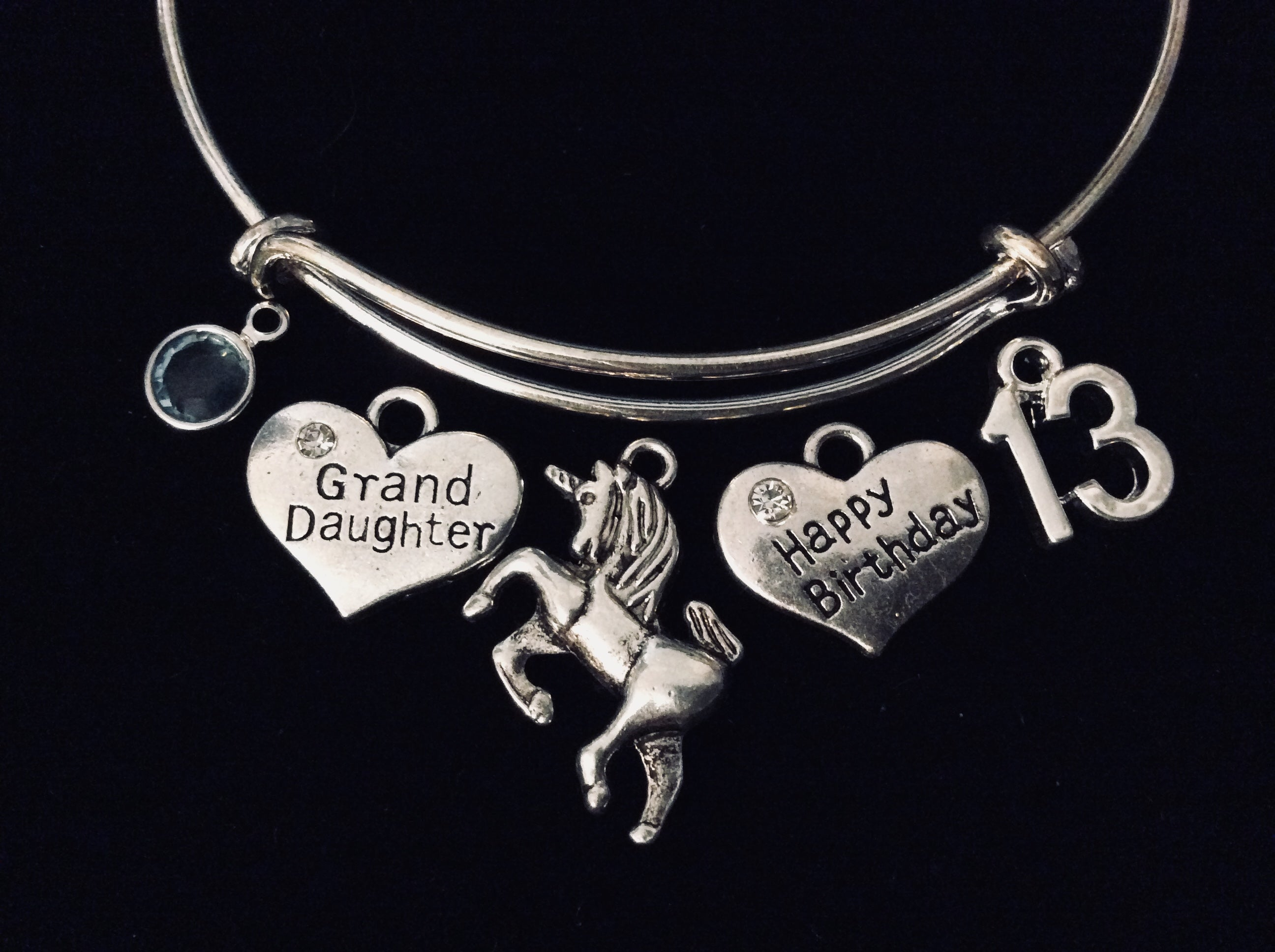 Unicorn Grand Daughter Jewelry Happy 13th Birthday Adjustable Bracelet