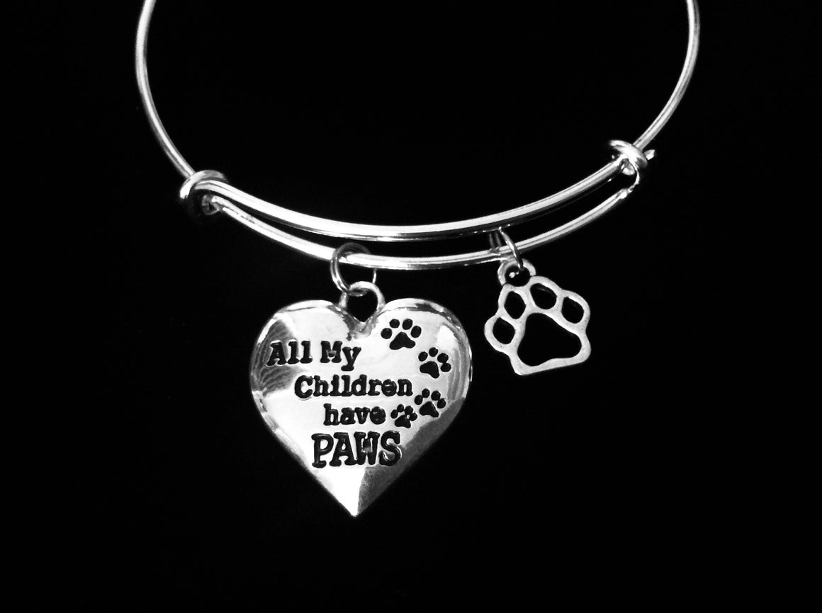 All my Children Have Paws Charm on a Silver Expandable Bracelet Adjustable Wire Dog Cat Animal Lover