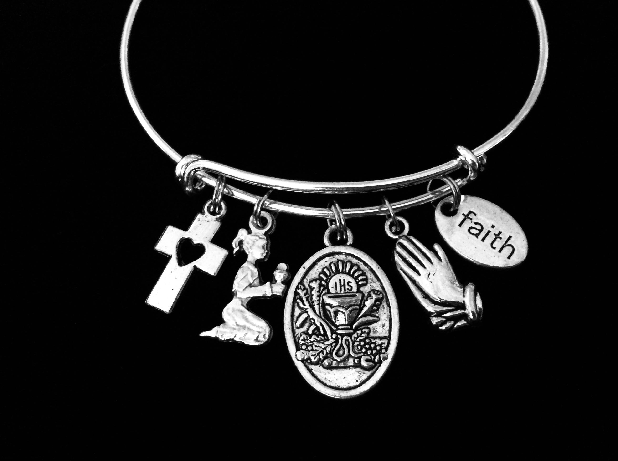 4952bf1a87e611 First Holy Communion Jewelry Adjustable Bracelet Expandable Silver Ban -  Jules Obsession