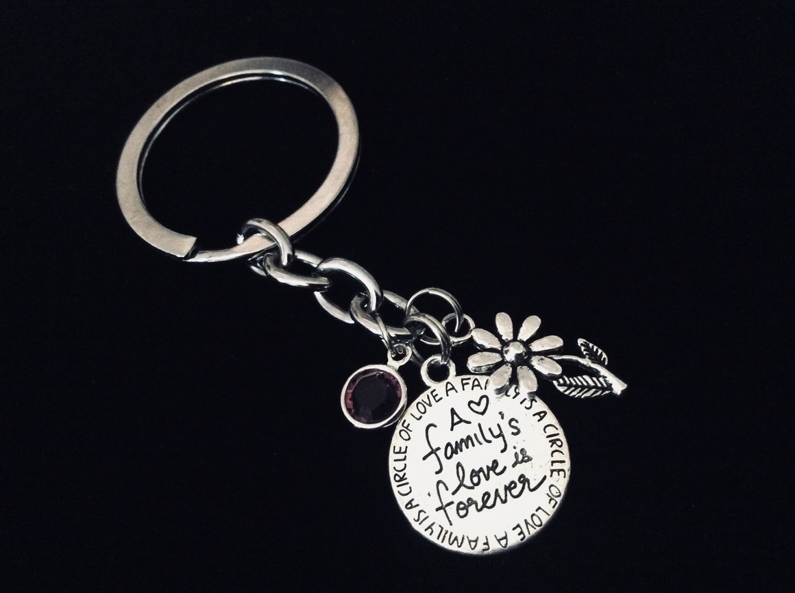 A Family's Love if Forever KeyChain Family Gift Silver Key Ring Daisy Birthstone A Family is a Circle of Love