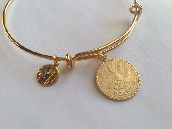 Woman Golfer and Frog Charm Adjustable Expandable Bracelet