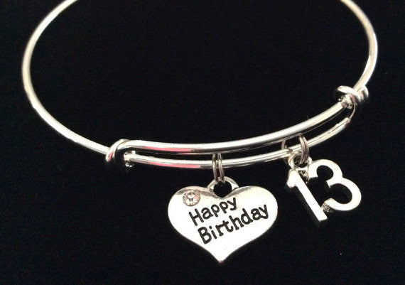 Happy 13th Birthday Expandable Charm Bracelet Adjustable Bangle Gift (Other Numbers Available)