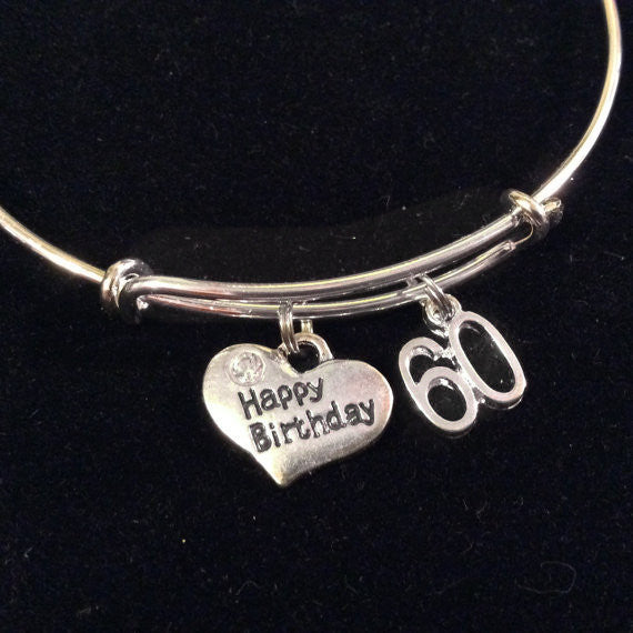 Expandable Charm Bracelets: Happy 60th Birthday Expandable Charm Bracelets Adjustable