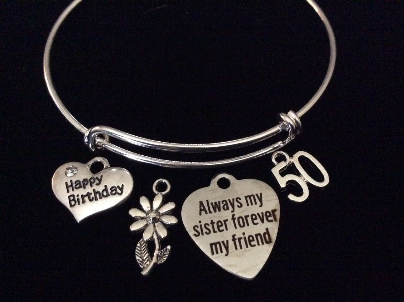 Sisters Happy 50th Birthday Expandable Silver Charm Bracelet Adjustable Bangle Gift