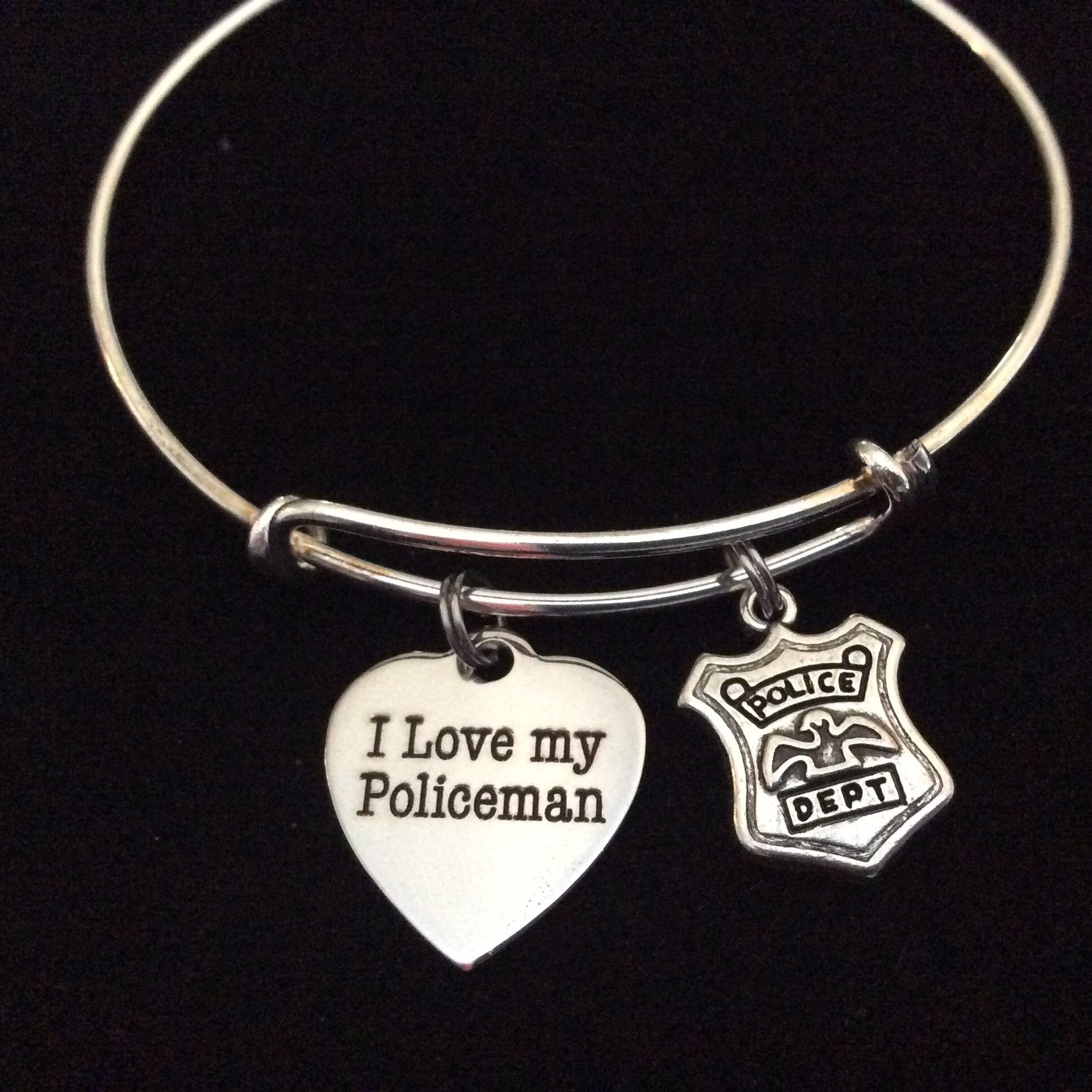 I love my policeman on expandable adjustable wire bangle bracelet i love my policeman on expandable adjustable wire bangle bracelet occupational police badge department wife gift mozeypictures Choice Image