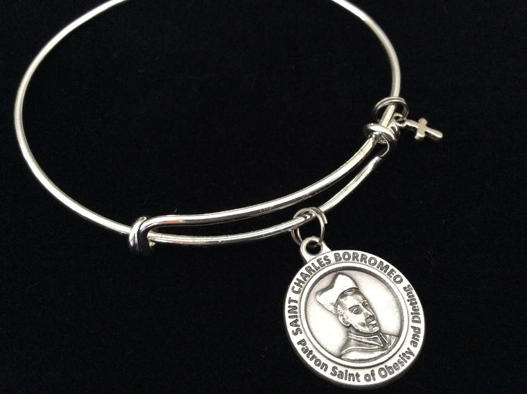 Saint Borromeo Medal Silver Expandable Charm Bracelet Double Sided Adjustable Wire Bangle Stacking Trendy Patron Dieting Obesity Stomach