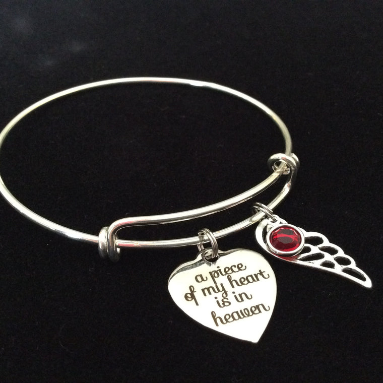 A Piece of My Heart is in Heaven Expandable Charm Bracelet Adjustable Wire Bangle