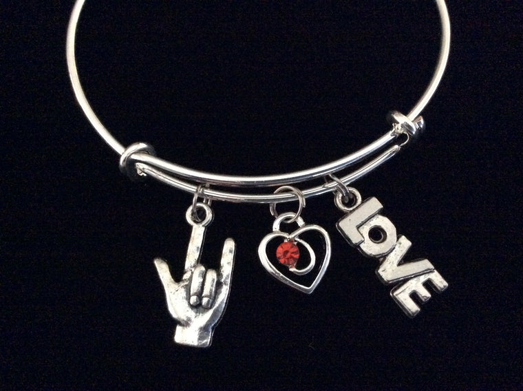 American Sign Language Charm (ASL) Red Crystal Heart and Love Charm on Expandable Adjustable Wire Bangle Bracelet