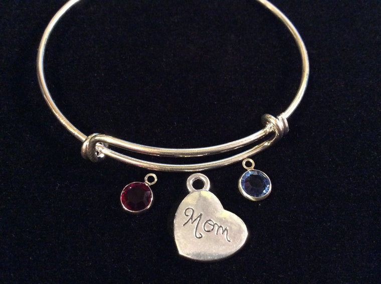 Mom Silver Heart with Birthstones Expandable Charm Bracelet Adjustable Wire Bangle Gift Trendy Fun Unique Mothers Gift