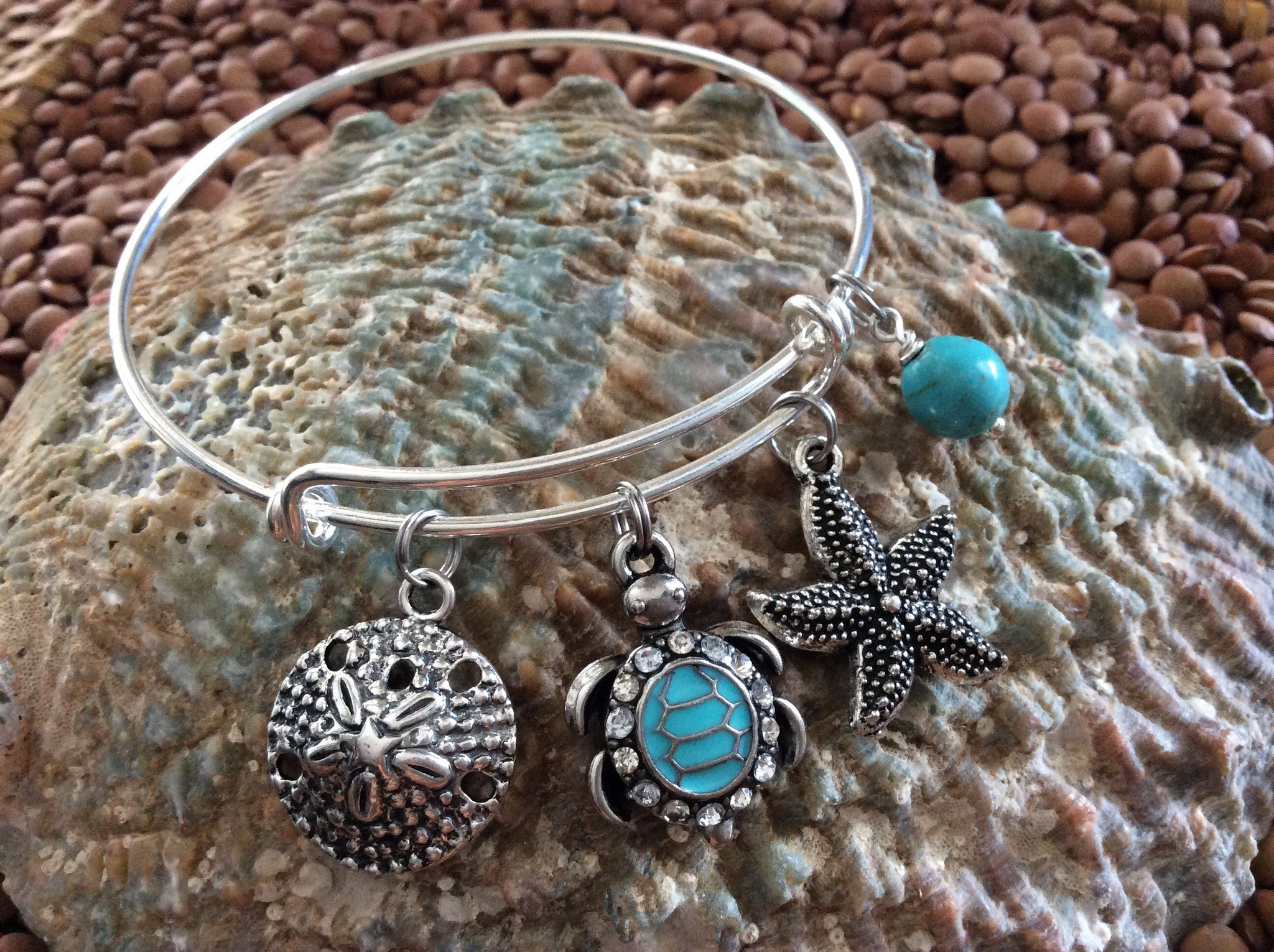 5dbf604fc40 ... Nautical Crystal Turquoise Silver Turtle Starfish Sand Dollar  Expandable Bracelet Silver Adjustable Wire Bangle Gift Ocean ...